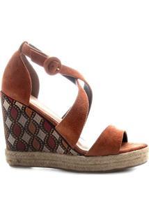 Sandã¡Lia Anabela Em Couro Acamurã§Ado- Marrom & Bege-Shoestock