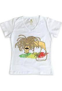 Camiseta Gola V Geek Cool Tees Quadrinhos Leão Jamaica Bob Marley Feminina - Feminino-Branco