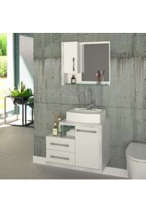 Conjunto Para Banheiro Gabinete Com Cuba Rt41 E Espelheira Legno 650W Compace Branco/Branco Chess