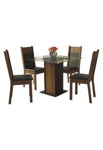 Conjunto Sala De Jantar Madesa Miami Mesa Tampo De Vidro Com 4 Cadeiras Preto/Rustic Rustic