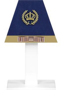 Abajur Coroa Luxo Mdf - Azul Marinho - Clássicos