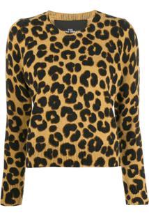 Marc Jacobs Leopard Print Sweater - Marrom