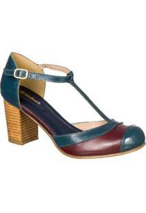 Sapato Boneca Retro Malbork Em Couro Salto 7Cm - Feminino-Azul+Marinho