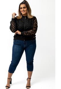 Jaqueta Blusa Feminina Bomber Em Renda Preta Plus Size Confidencial Extra Preto