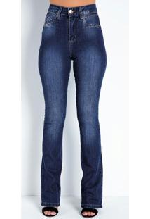 Calça Jeans Boot Cut Com Bordado No Bolso Sawary