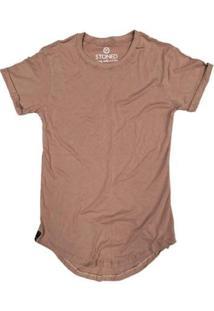 Camiseta Longline Stoned Lisa Masculina - Masculino-Bege