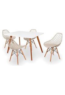 Conjunto Mesa De Jantar Gih 120X80Cm Branca Com 4 Cadeiras Vision - Nude