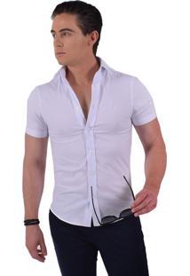 Camisa Levok Social Manga Curta Slim Branca