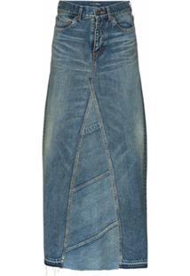 Saint Laurent Saia Longa Jeans Cintura Alta - Azul