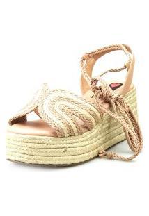 Anabela Espadrille Love Shoes Plataforma Corda Amarrar Nude