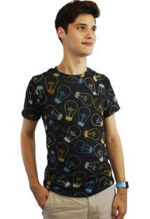 Camiseta Dionisio Collection Lampadas Preto