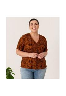 Blusa Animal Print Curve & Plus Size | Ashua Curve E Plus Size | Marrom | G