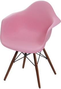 Cadeira Eames Com Braco Base Escura Rosa - 59223 - Sun House