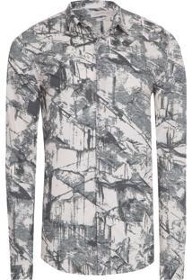 Camisa Masculina Estampa Espatulada - Off White E Verde