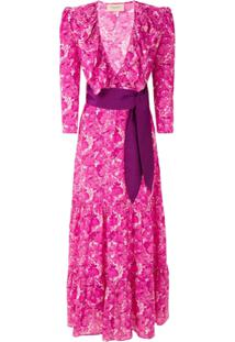 Adriana Degreas Vestido Longo Flower Bloom Estampado - Rosa