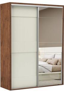 Guarda Roupa Tw201E 2 Portas Com Espelho Nobre Fosco/Off White