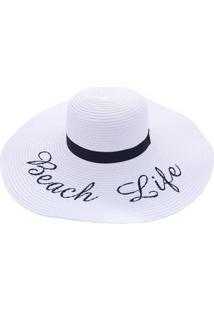 Chapéu De Praia Bali Beach Com Beach Life Branco