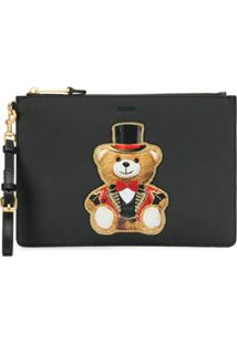 Moschino Appliqué Circus Bear Clutch - Preto