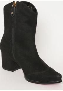 Ankle Boot Com Bordado- Preta & Dourada- Salto: 6Cmcarmen Steffens