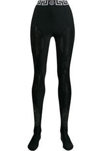 Versace Lace Panel Leggings - Preto
