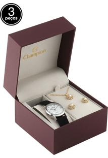Kit 3 Pçs Relógio Champion Cn28036C Preto/Dourado