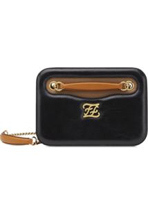 Fendi Karligraphy Pocket Shoulder Bag - Preto