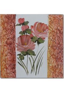 Quadro Artesanal Com Textura Rosa Vermelho 30X30 Uniart