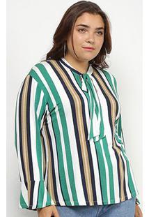 Blusa Blomma Plus Size Laço Manga Flare Feminina - Feminino-Listrado