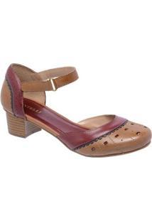 Sandália D&R Shoes Couro Feminina - Feminino-Marrom+Vinho