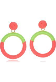 Brinco Le Diamond Fios De Seda Rosa E Verde Florescente - Kanui