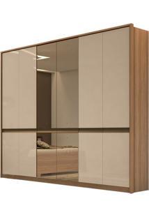 Guarda Roupa Urban New 6 Portas Com Espelho Carvalho Naturale/Off White