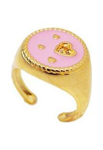 Anel Dedinho Coração Rosa Banhado A Ouro 18K