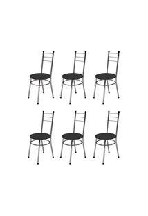 Kit 6 Cadeiras Baixas 0.236 Redonda Cromado/Preto - Marcheli