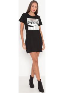 "Vestido ""Enjoy"" Metalizado- Preto & Prateado- Coca-Ccoca-Cola"