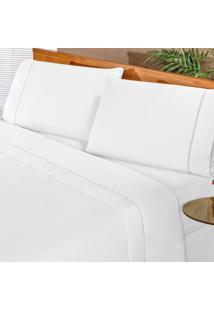 Jogo De Cama Elegance Branco Casal Percal 180 Fios 04 Peças Dourados Enxovais