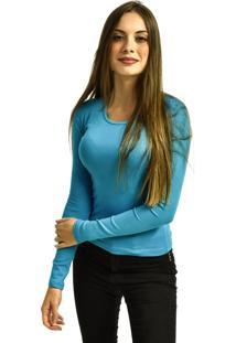 Camiseta Nakia Manga Longa Básica Feminina Lisa Malha Azul Claro - Kanui