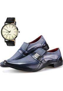 Sapato Social Neway Preto E Cinza Relógio