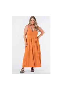 Vestido Almaria Plus Size Munny Longo Liso Camadas Laranja