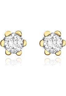 Brinco Solitário Em Ouro Amarelo 18K Com Diamante Destinee