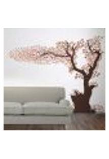 Adesivo De Parede Arvore De Outono Com Folhas Caindo - M 180X220Cm