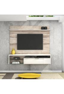 Painel Para Tv 65 Polegadas Persa Castanha Rústico E Branco Neve 180 Cm