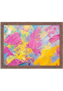 Quadro Decorativo Abstrato Moderno Pintura Pinceladas Madeira - Médio