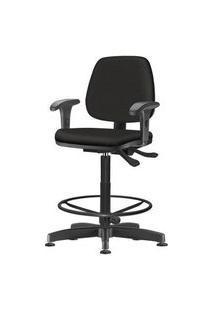 Cadeira Job Com Bracos Assento Courino Base Caixa Metalica Preta - 54530 Preto