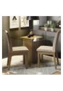 Conjunto Sala De Jantar Madesa Lili Mesa Tampo De Vidro Com 2 Cadeiras