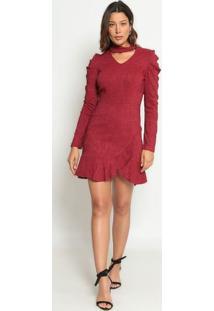 Vestido Texturizado Com Babados - Vinho - Operateoperate