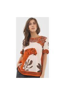 Camiseta Forum Estampada Bege/Laranja