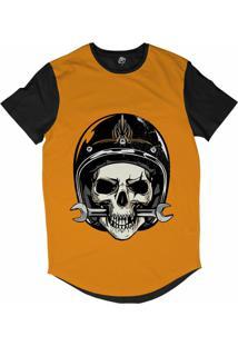 Camiseta Longline Bsc Caveira De Capacete Mordendo Chave Inglesa Sublimada Laranja