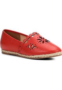 Sapatilha Couro Shoestock Espadrille Flat Flor Feminina - Feminino-Vermelho