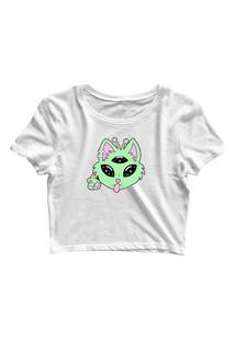 Blusa Blusinha Feminina Cropped Tshirt Camiseta Gato Alien Branco