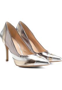 Scarpin Shoestock Salto Alto Ondas Metalizadas